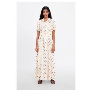Zara Long Polka Dot Dress in Vanilla Size Large